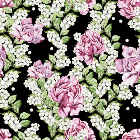 Beautiful Seamless pattern with watercolor  roses and snowberry.  Illustration