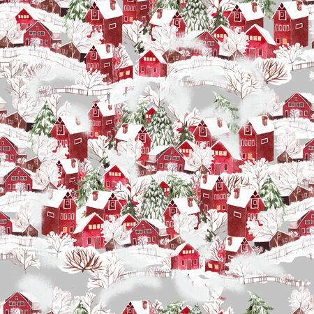 Bright watercolor christmas seamless pattern with funny winter village. Illustration Banco de Imagens