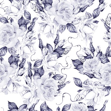 Beautiful watercolor seamless pattern with roses and bud. Illustration