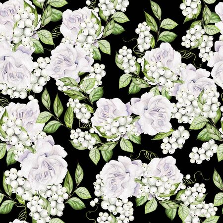 Beautiful Seamless pattern with watercolor tender roses and snowberry.  Illustration