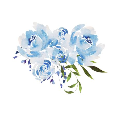 Beautiful Watercolor wedding blue wreath with roses flowers and peony, leaves.  Illustration