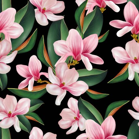Beautiful colorful pattern with flowers and leaves of magnolia. Illustration. Imagens