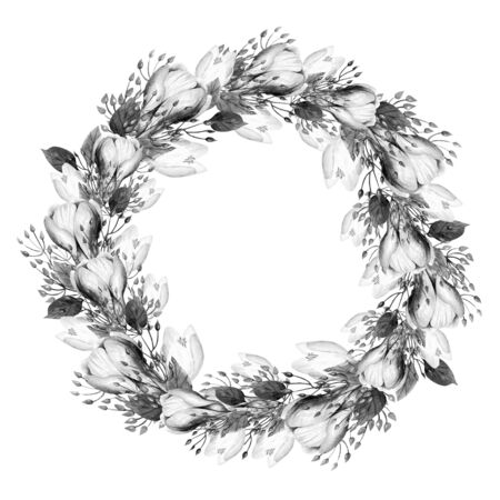 Beautiful Watercolor Wreath with white roses. Illustration