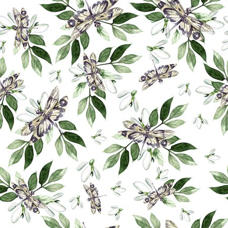 Beautiful watercolor seamless pattern with snowdrop and dragon fly. Illustration Imagens