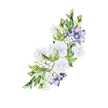 Beautiful bouquet with watercolor tender roses and snowberry, cotton and blueberries.  Illustration