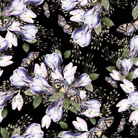 Beautiful watercolor seamless wedding pattern with eucaluptys, crocus and butterfly. Illustration