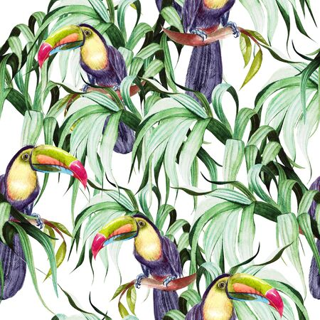 Beautiful watercolor seamless pattern with tropical leaves and bird tukan.  Illustration