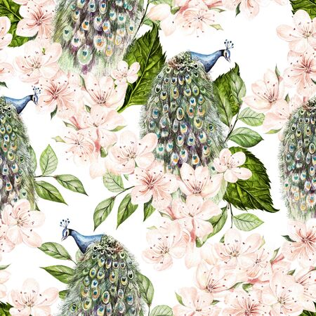 Beautiful watercolor seamless pattern with peacock bird and flowers. Illustration Imagens