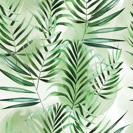 Beautiful watercolor seamless pattern with tropical leaves. Illustration Imagens
