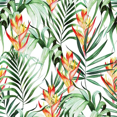 Beautiful watercolor seamless pattern with tropical leaves, strelitzia flowers.  Illustration