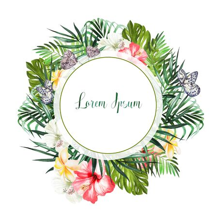 Watercolor tropical wreath with hibiscus flowers and palm leaves . Illustration