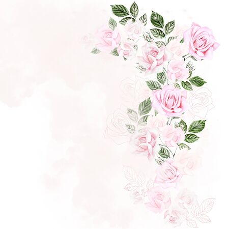 Beautiful Watercolor card with roses. Illustration