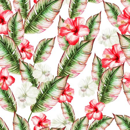 Beautiful watercolor seamless pattern with tropical leaves and hibiscus flowers.  Illustration Imagens