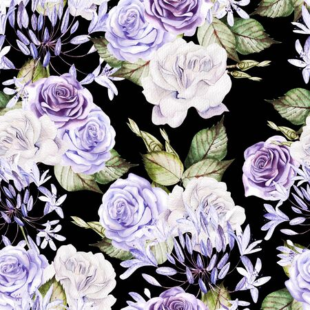 Beautiful watercolor seamless pattern with  white and purple roses, bud. Illustration Imagens