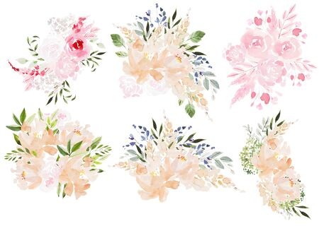 Beautiful Watercolor wedding set with bouquets of roses flowers and peony, leaves.  Illustration