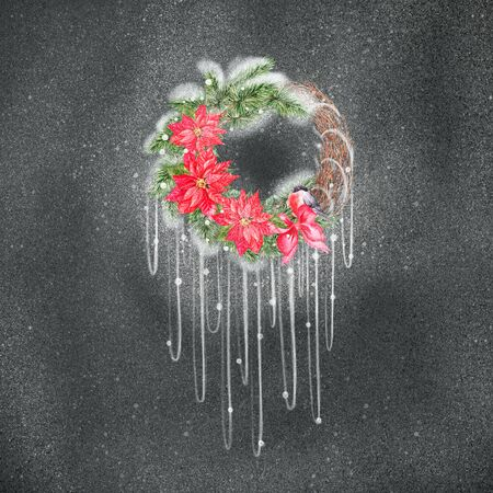 Watercolor Christmas wreath with christmas star and pine. Illustration for greeting cards and invitations.  Imagens
