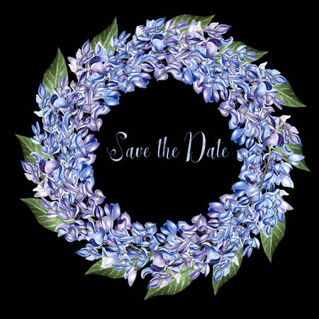 Beautiful watercolor wreath  with flowers of wisteria. Illustration