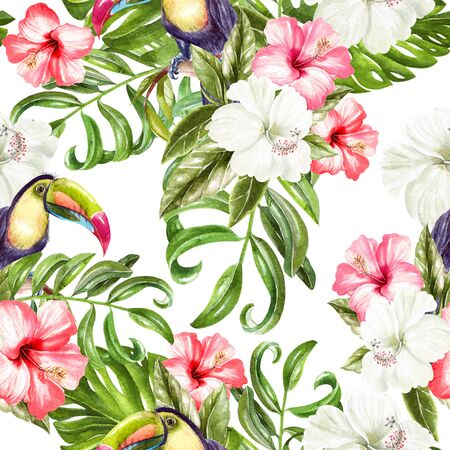 Bright colorful seamless pattern with tropical leaves and hibiscus flowers, toucan bird. Illustration