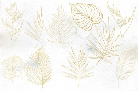 Watercolor set with gold tropical leaves, flower. Illustration