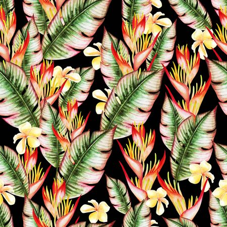 Beautiful watercolor seamless pattern with tropical leaves and strelitzia flowers. Illustration Imagens