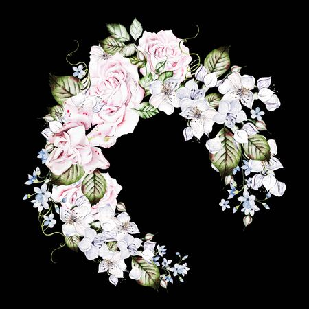 Beautiful watercolor wedding wreath with roses and buds. Illustration