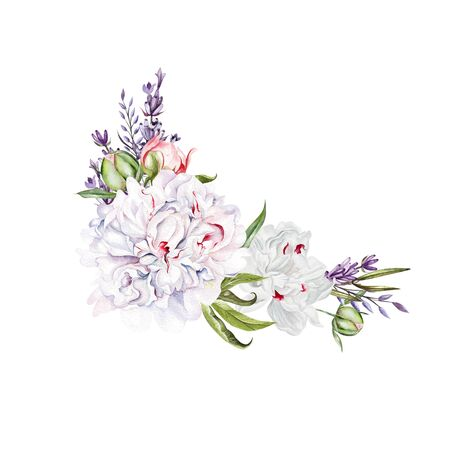 Beautiful watercolor wedding bouquet with watercolor peony,lavender,  leaves and berries. Illustration