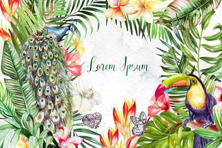 Watercolor set with tropical leaves, flowers, peacock and tukan bird, butterfly. Illustration