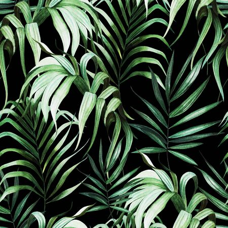 Beautiful watercolor seamless pattern with tropical leaves.  Illustration