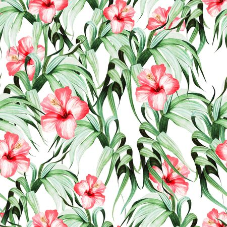 Beautiful watercolor seamless pattern with tropical leaves and hibiscus flowers. Illustration