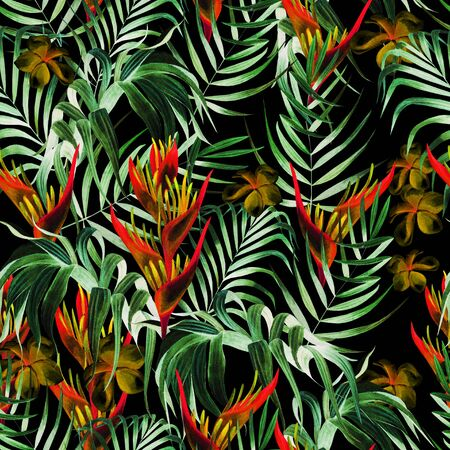 Beautiful watercolor seamless pattern with tropical leaves, hibiscus flowers and strelitzia. Illustration