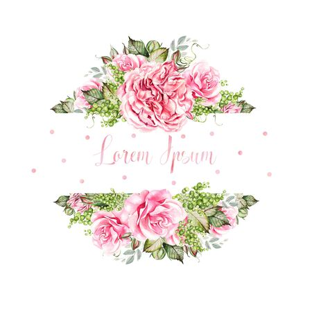 Watercolor colorful wedding card with peony, roses, succulent flowers. Illustration.