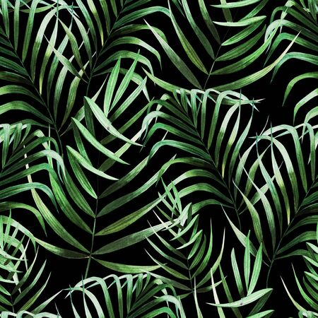 Beautiful watercolor seamless pattern with tropical leaves. Illustration Archivio Fotografico
