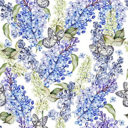 Watercolor seamless pattern with lilac flowers and leaves. Illustration