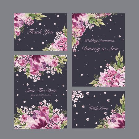 Beautiful Watercolor wedding card with roses flowers, peony and leaves.  Illustration