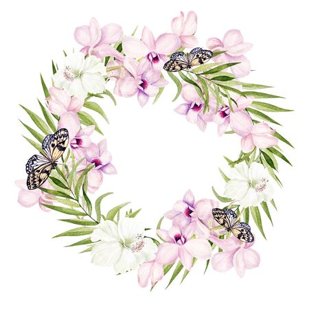 Beautiful watercolor wreath with tropical leaves and orchids flowers. Illustration