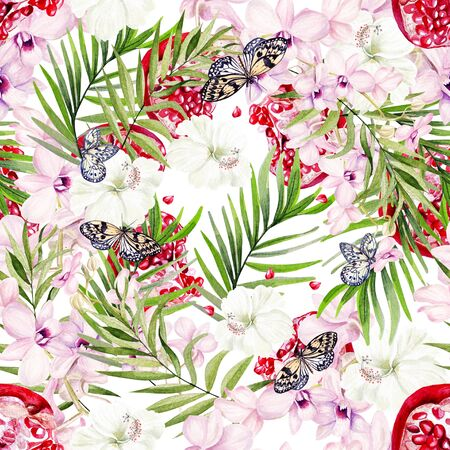 Beautiful watercolor seamless pattern with tropical leaves, pomegranate fruits, orchids and hibiscus flowers. Illustration