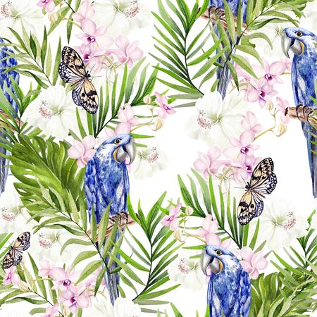 Beautiful watercolor seamless pattern with tropical leaves, orchids and hibiscus flowers, parrots.  Illustration