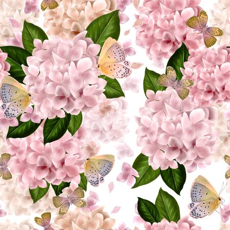 Beautiful colorful pattern with flowers and leaves of hydrangea.  Illustration Imagens