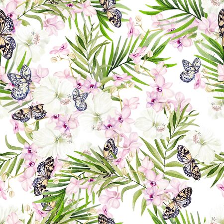 Beautiful watercolor seamless pattern with tropical leaves, orchids and hibiscus flowers. Illustration Imagens