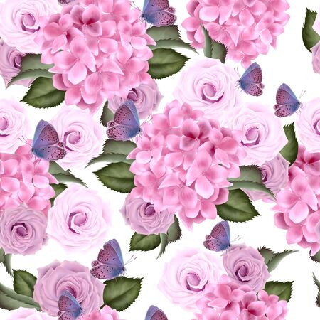 Beautiful colorful pattern with hydrangea and rose flowers. Illustration. Imagens