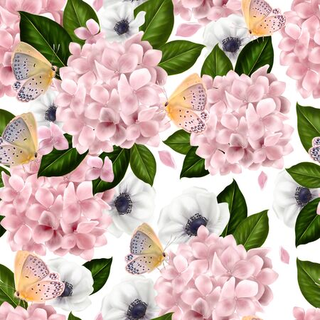 Beautiful colorful pattern with flowers and leaves of hydrangea and anemone. Illustration. Imagens