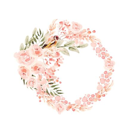 Beautiful Watercolor wedding blue wreath with roses flowers, leaves.  Illustration