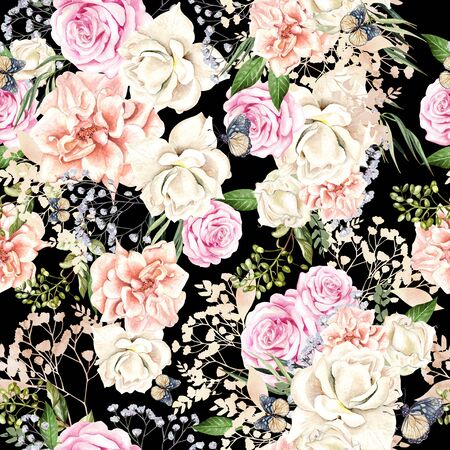 Beautiful watercolor pattern with roses and peony flowers, leaves and butterflies. Illustration 版權商用圖片