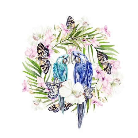 Beautiful watercolor bouquet with tropical leaves and orchids flowers, parrots. Illustration