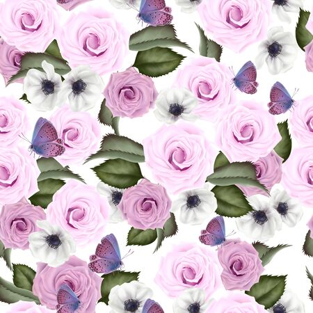 Beautiful colorful pattern with roses and anemone flowers, leaves.  Illustration. 版權商用圖片