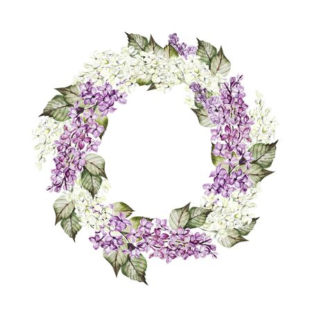 Watercolor wedding wreath with lilac flowers. Illustration 版權商用圖片