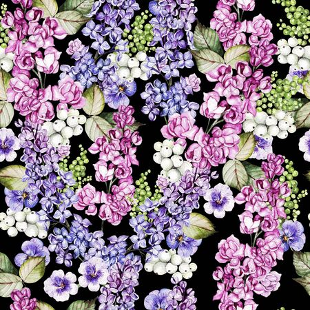Watercolor seamless pattern with lilac and pansy flowers and leaves. Illustration