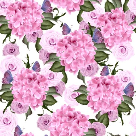Beautiful colorful pattern with hydrangea and rose flowers, Illustration.