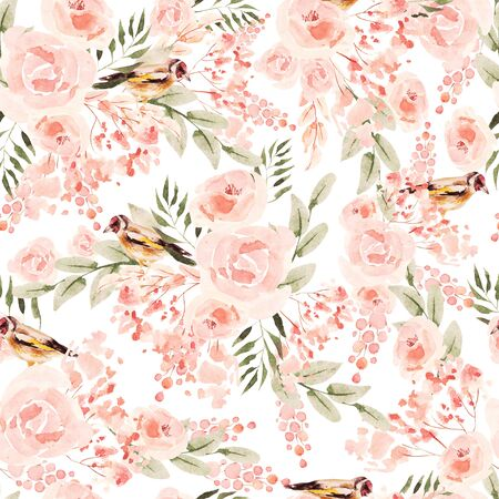 Beautiful Watercolor seamless pattern with roses and peony flowers. Illustration 版權商用圖片