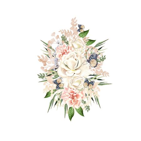 Beautiful watercolor bouquet with roses and peony flowers, leaves and butterflies. Illustration